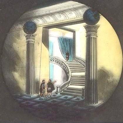 A magic lantern slide portraying Freemasonry's Pillars of the Porch concept