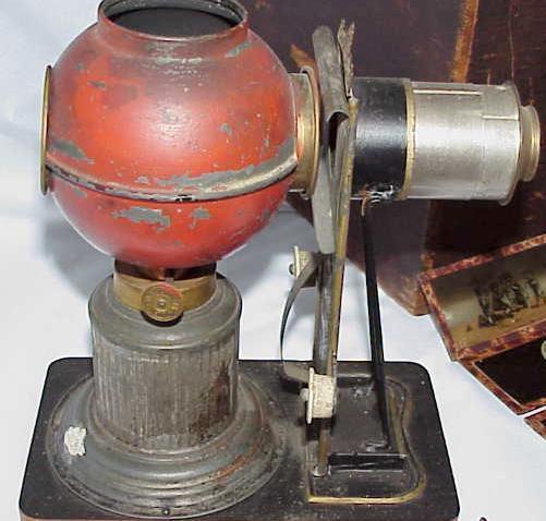A magic lantern from the late 1870s utilizing a kerosene lamp for light.