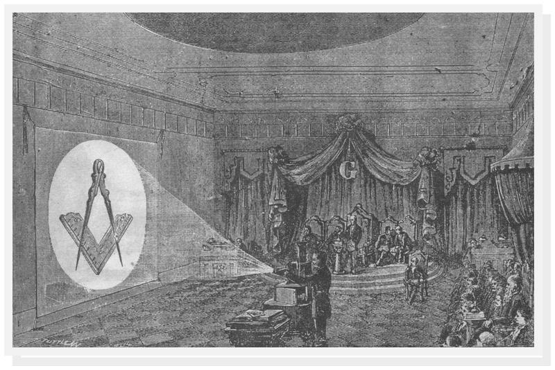 A Masonic lodge using a Magic Lantern to project the square and compass symbol