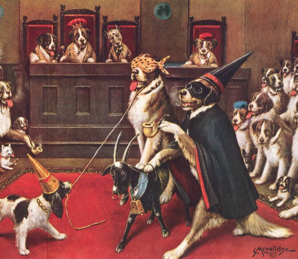 An oil painting of dogs performing a group ritual. In the center, one dog rides a goat while blindfolded.