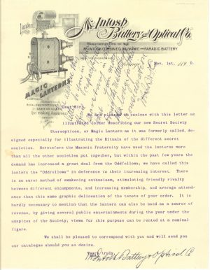 Letter from the McIntosh Battery and Optical Co.