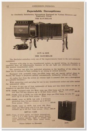 Henderson-Ames Regalia Catalogue from 1900 advertising a magic lantern for Freemasons