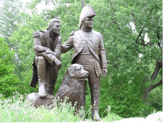 A photo of the Lewis and Clark statue in St. Charles, Missouri