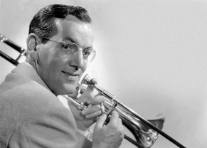 A photograph of Glenn Miller with his trombone