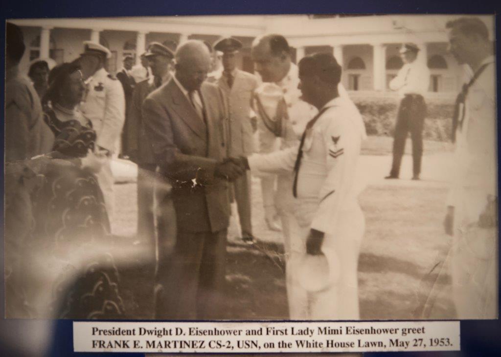President Eisenhower greets Frank Martinez