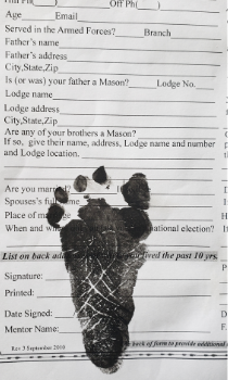 Brother John B. McNaughton's son's petition, inked with his infant footprint