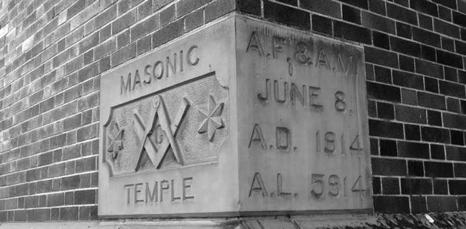 A cornerstone with Masonic emblems