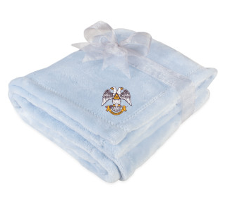 Mink Touch Luxury Light Blue Baby Blanket with Scottish Rite logo