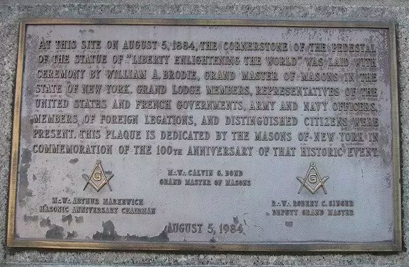 The Statue of Liberty's Cornerstone Plaque, Featuring the Square and Compass
