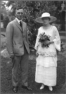 A photograph of Harry and Bess Truman on their wedding day.