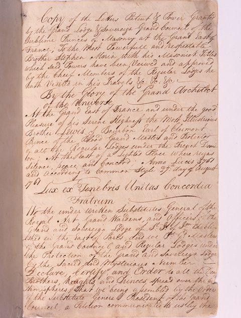Etienne Morin Scottish Rite patent