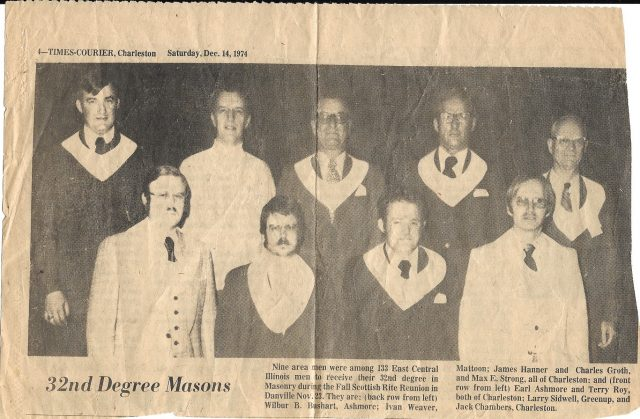 A newspaper clipping featuring Scottish Rite Masons, including Brother Fleming's Grandfather, Brother Charles Gus Groth.