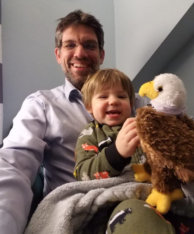 Alf Butler and his 20 month old son Campbell enjoying Scotty the Eagle