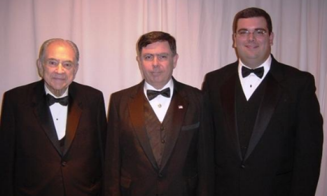 Brother John B. McNaughton, 33° (right) and his father, past Sovereign Grand Commander John Wm. McNaughton, 33° (middle), and his grandfather, past Grand Minister of State John W. McNaughton, 33°.
