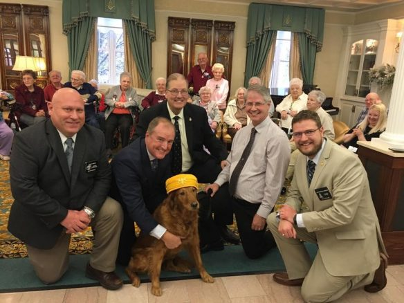 Welcoming Shelby the therapy dog to Masonic Pathways