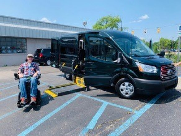 Josh Marshbanks is a proud new owner of a 2019 Ford Transit Mobility equipped van