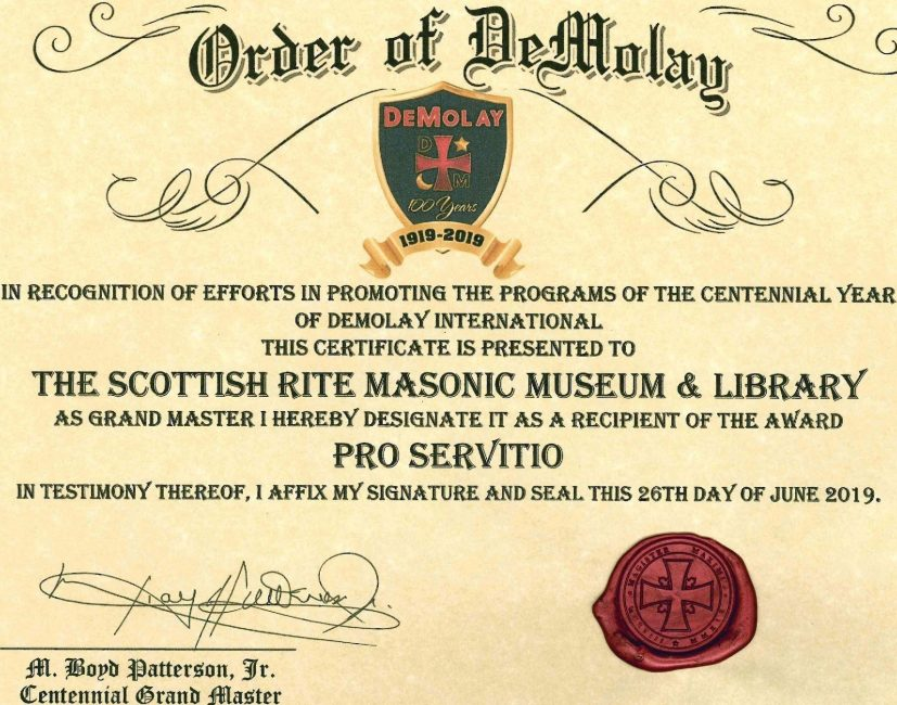 Order of Demolay Certificate