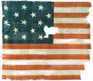 The remnants of another 15-star American flag with unique star arrangement. Courtesy of Air & Space Magazine.