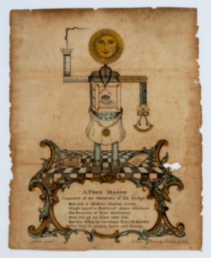 A photograph of a Masonic print from the late 1700s