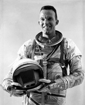 "A Young Colonel Leroy ""Gordo"" Gordon Cooper, Jr. in his space uniform"