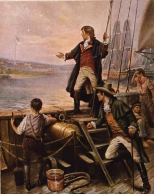 An illustration of Francis Scott Key aboard a naval ship in the war of 1812