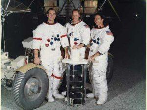 James Benson Irwin (right) alongside Apollo 15 crewmates