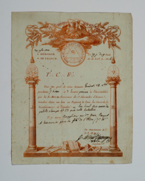 A Summons to Lodge St. Alexandre in France from 1804