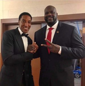 Brother Scottie Pippin with fellow basketball player and Freemason Shaquille O'Neal