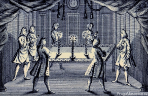 Engraving by H Roberts in 1738 showing seven brethren in a lodge room around a table taking wine.