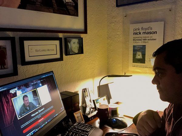 Brother Ed Lopez watching our Virtual Reunion from home