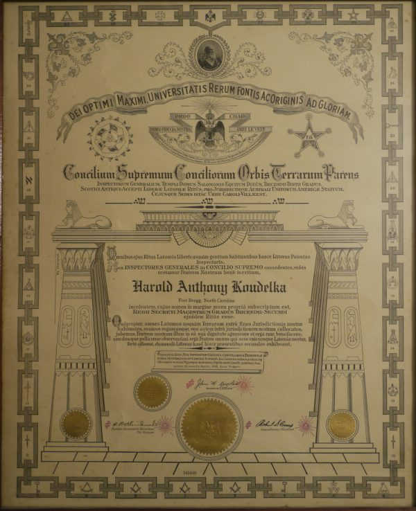 Brother Knapp's Grandfather's Scottish Rite, Southern Masonic Jurisdiction Certificate Dating Back to 1948