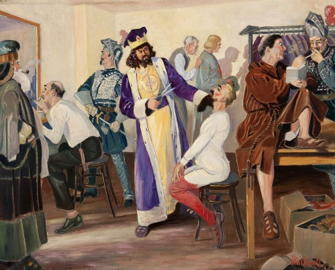 Painting of a scene in the dressing room of a Scottish Rite Valley.
