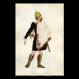 Watercolor print of Hiram of Tyre costume for the sixth Scottish Rite degree.