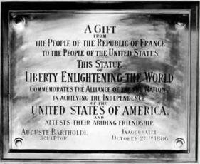 The Statue of Liberty's Plaque Commemorating France's Gift to the US