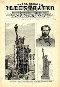 A newspaper clipping of the Statue of Liberty Project, featuring Brother Bartholdi