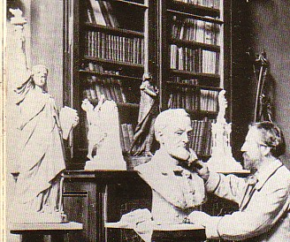Brother Bartholdi sculpting a bust